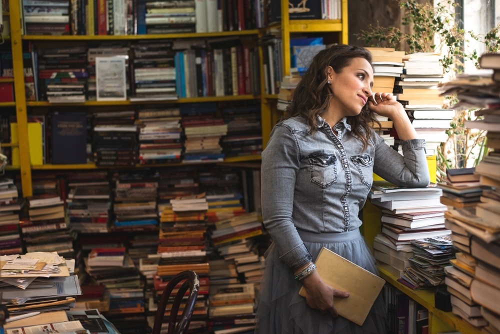 in a bookstore looking out the window