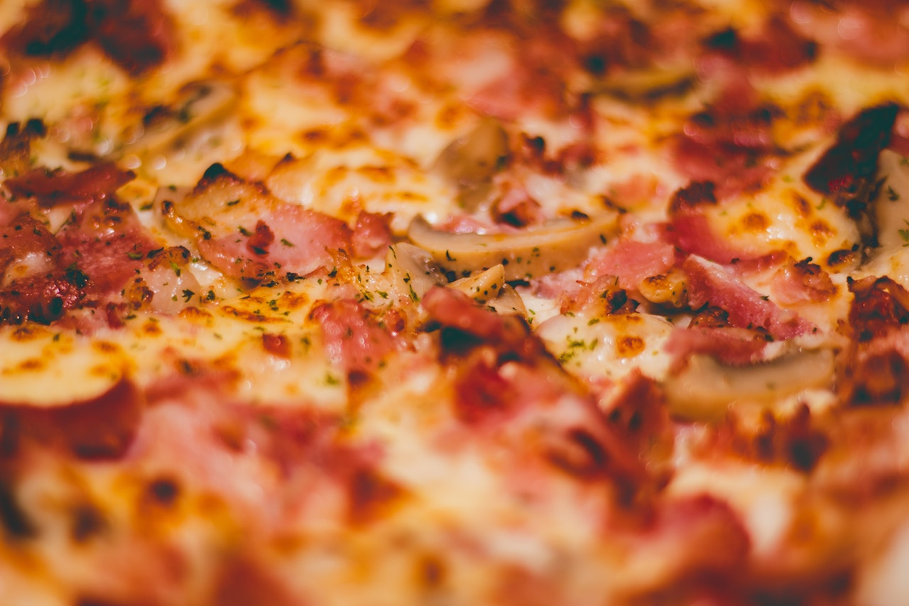 close-up of ham and mushroom pizza