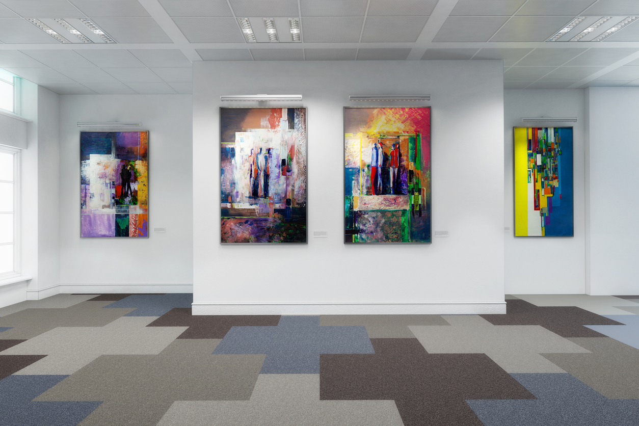 3d render of an art museum paintings on white gallery walls