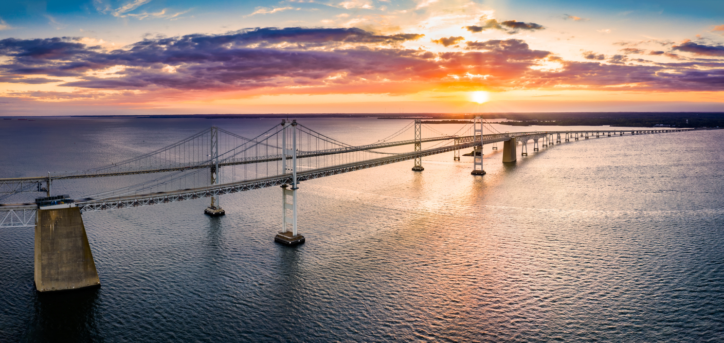 Aerial panorama of Chesapeake Bay Bridge at sunset