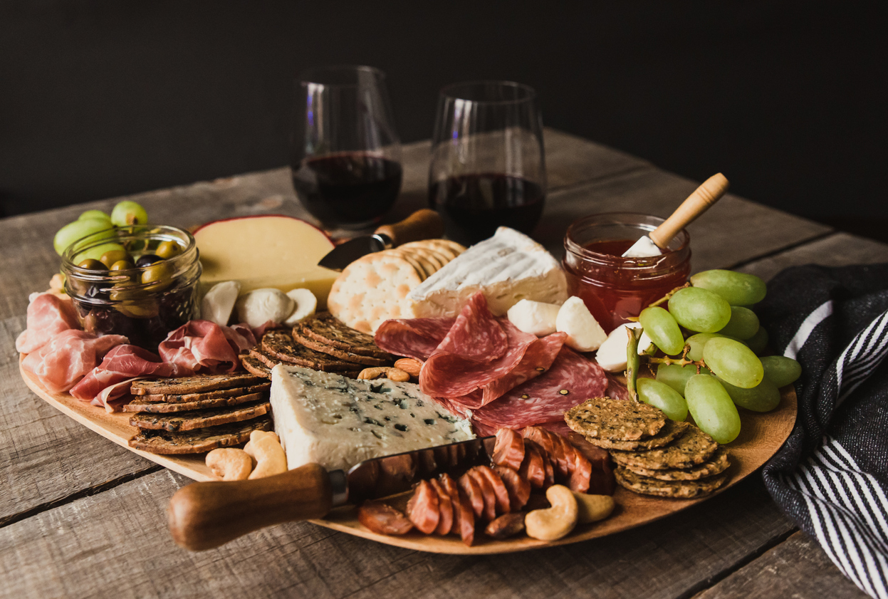 A charcuterie board on table.