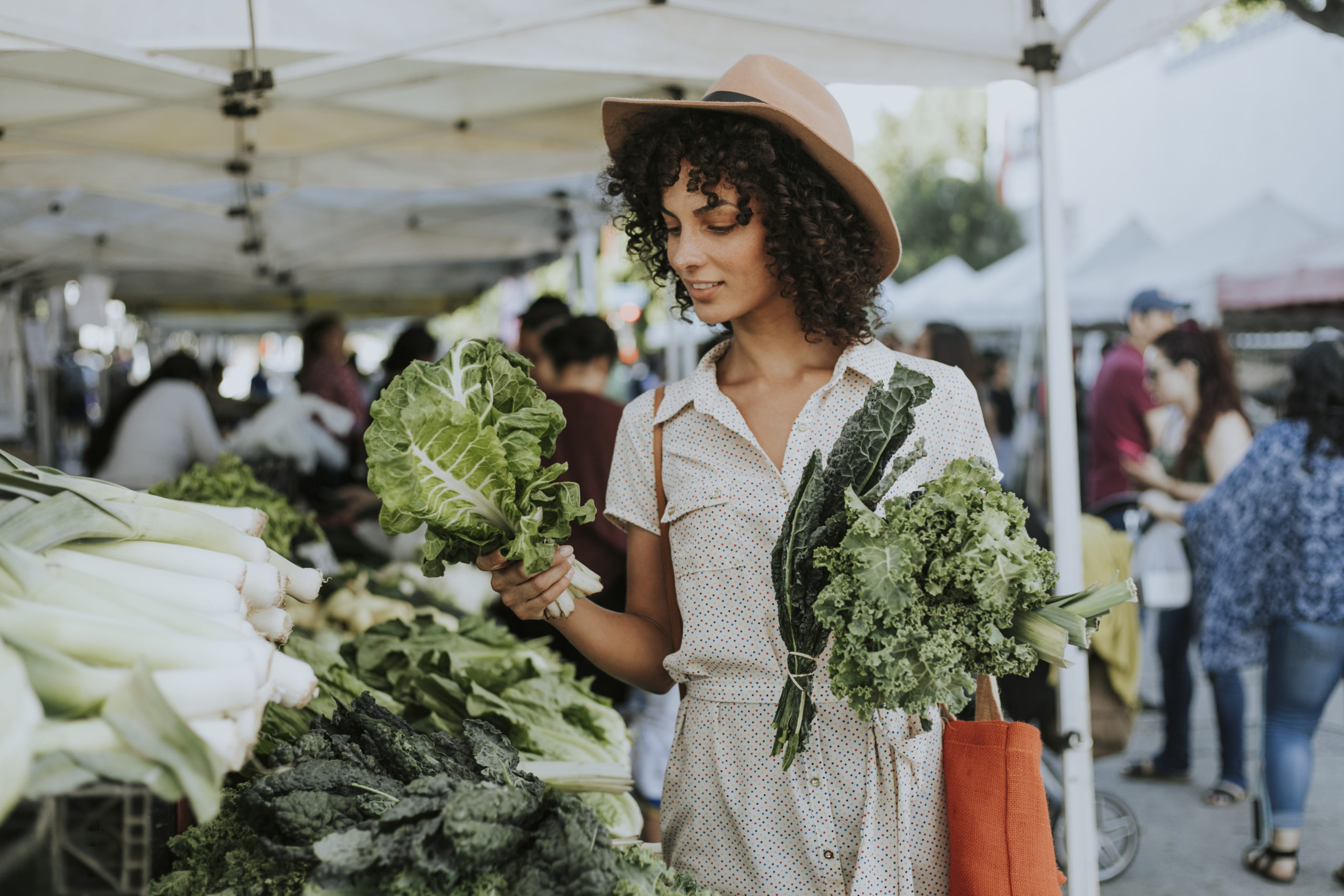 Woman shopping for vegetables at an open air market | Catonsville farmer's market