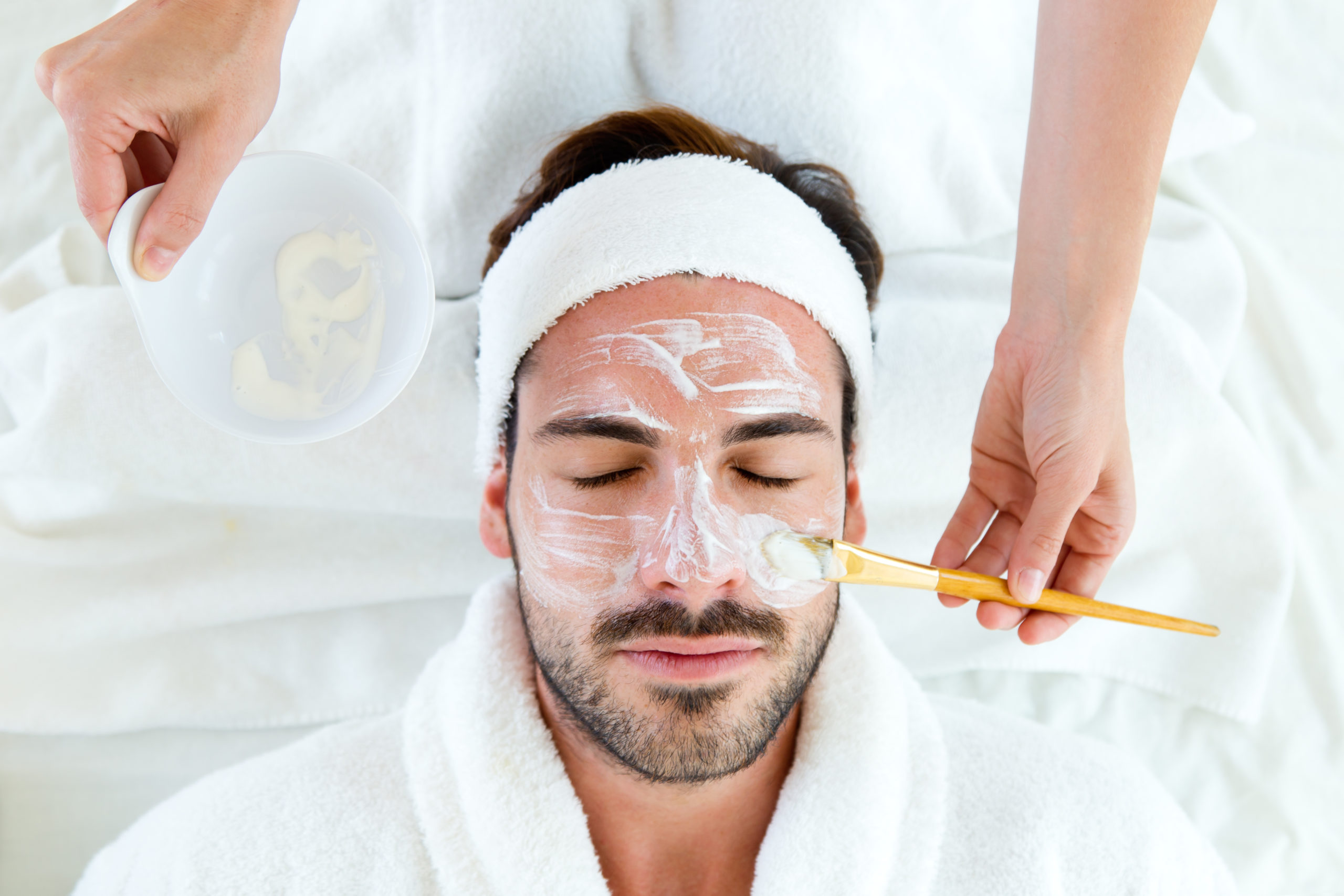 man getting a facial   day spas in Hanover, MD